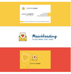 beautiful love letter logo and business card vector image