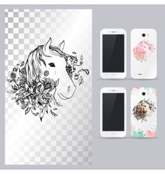 Black and white animal horse head vector