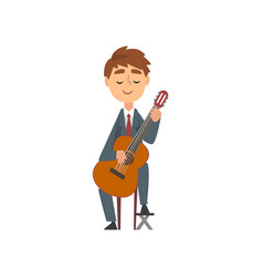 boy playing guitar talented young guitarist vector image