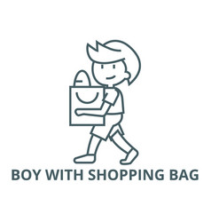 boy with shopping bag line icon boy with vector image