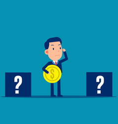 business person choosing box to put coin vector image