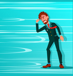 Businessman go against wind blowing vector