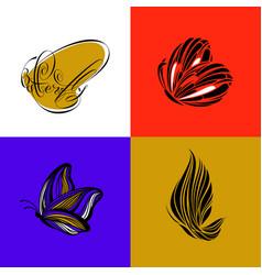 butterfly set elegant design elements vector image