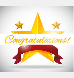Card template for congratulation with stars vector