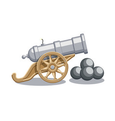Cartoon abstract cannon with cannonballs vector
