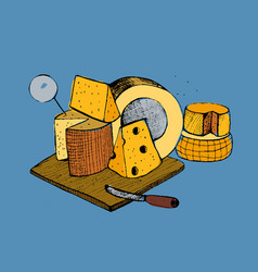 Cheese types composition on blue background vector
