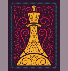 chess calligraphic vintage style poster vector image