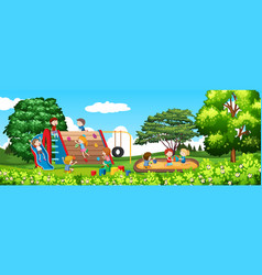 childre playing in a park vector image
