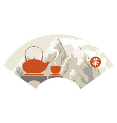Chinese mountain landscape with a teapot and a cup vector