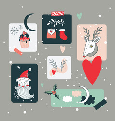 christmas and new year holidays design elements vector image