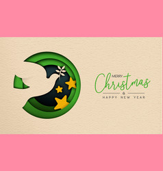 Christmas and new year paper cut bird web banner vector