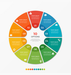 Circle chart infographic template with 10 options vector