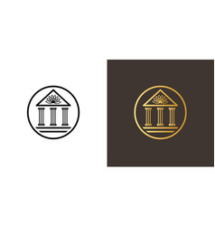 circle logo with academy building and lotus vector image