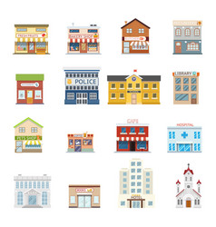 City street building shops real estate vector