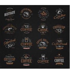 Coffee vintage logos set freshly brewed caffeine vector