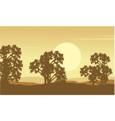 Collection of tree on hill scenery vector