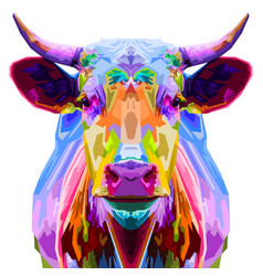 colorful bull pop art style isolated on white vector image