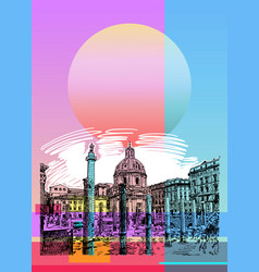 Contemporary art poster design of rome italy vector