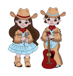 Country music friends cowboy western illust vector