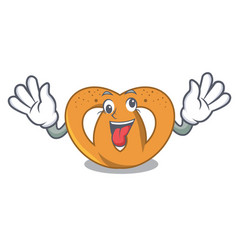 crazy pretzel mascot cartoon style vector image