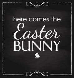 Easter here comes the bunny blackboard vector image