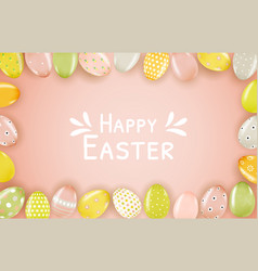 easter poster template with 3d realistic vector image