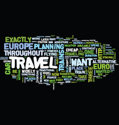 Euro travel text background word cloud concept vector