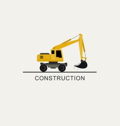 Excavator works flat style vector