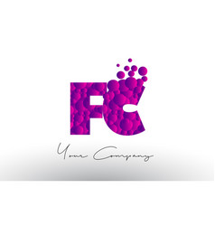 Fc f c dots letter logo with purple bubbles vector