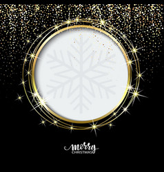 Festive golden sparkle background glitter border vector