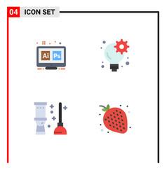 Flat icon pack 4 universal symbols adobe vector