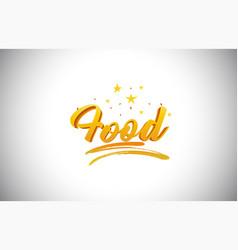 Food golden yellow word text with handwritten vector