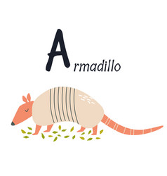 Funny image armadillo and letter a zoo vector