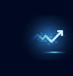 Futuristic raise arrow chart digital vector