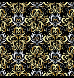 Gold silver 3d damask seamless pattern floral vector
