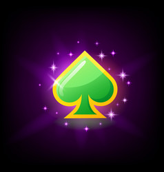 Green and gold spade icon card suit symbol vector