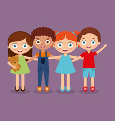 Group kids embrace happy smiling boys and girl vector