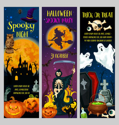 halloween horror night party banners vector image