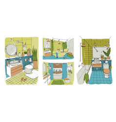 hand drawn modern bathroom and toilet interior vector image