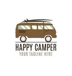 Happy camper logo design Vintage bus vector