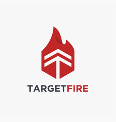 hot target target and fire logo icon template vector image
