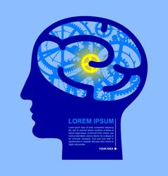 Human blue head half face with brain gears vector