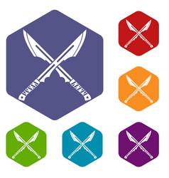 Japanese tanto daggersicons set hexagon vector