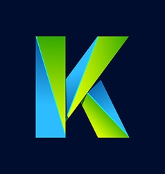 K letter line colorful logo abstract trendy green vector