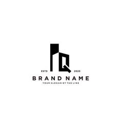Letter q and building logo design vector