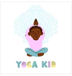 little boy doing yoga vector image