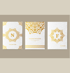 luxury gold artistic flyer 3x4 with unique vector image