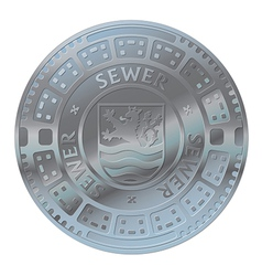 Manhole cover of the old town vector image