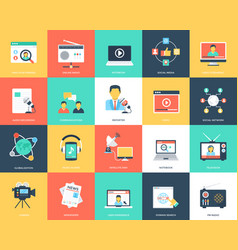 Media and advertising flat vector