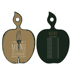 menu in the form of cutting board with fork vector image